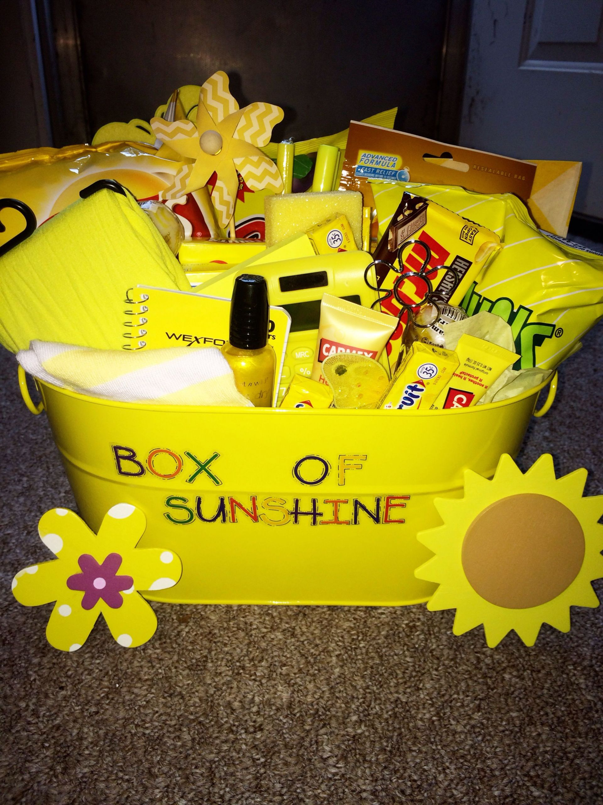 Gift Basket Ideas For Friends Birthday  Box of sunshine I made for a friend