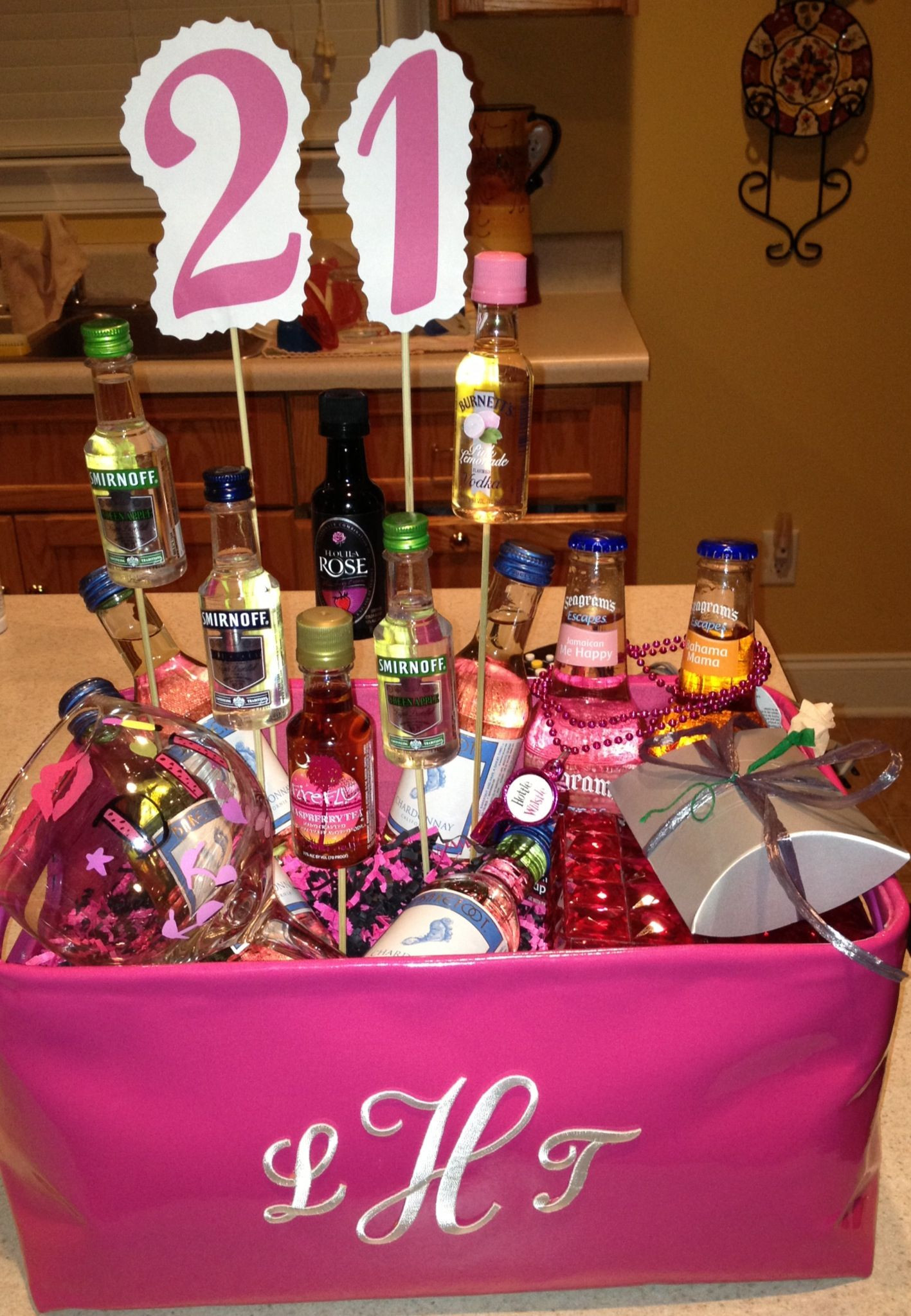 Gift Basket Ideas For Friends Birthday  21st birthday basket full of goo s that I made for my