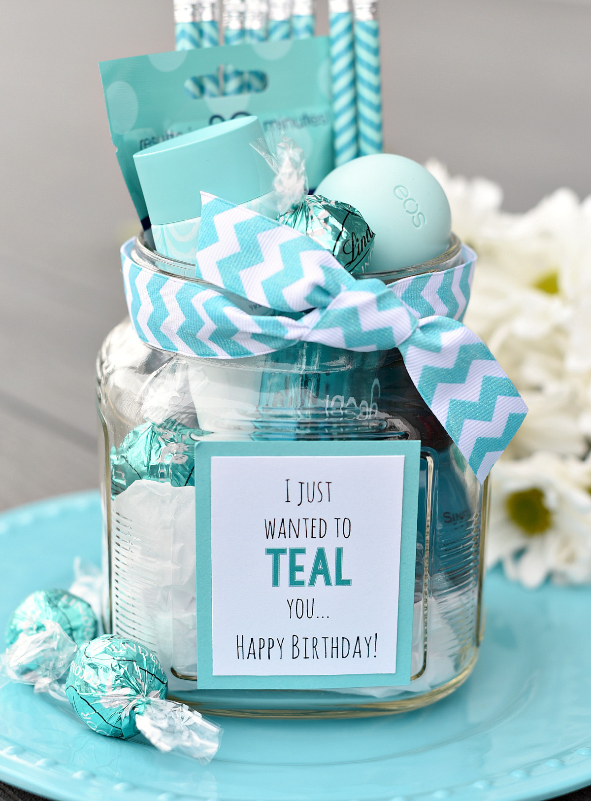 Gift Basket Ideas For Friends Birthday  Teal Birthday Gift Idea for Friends – Fun Squared
