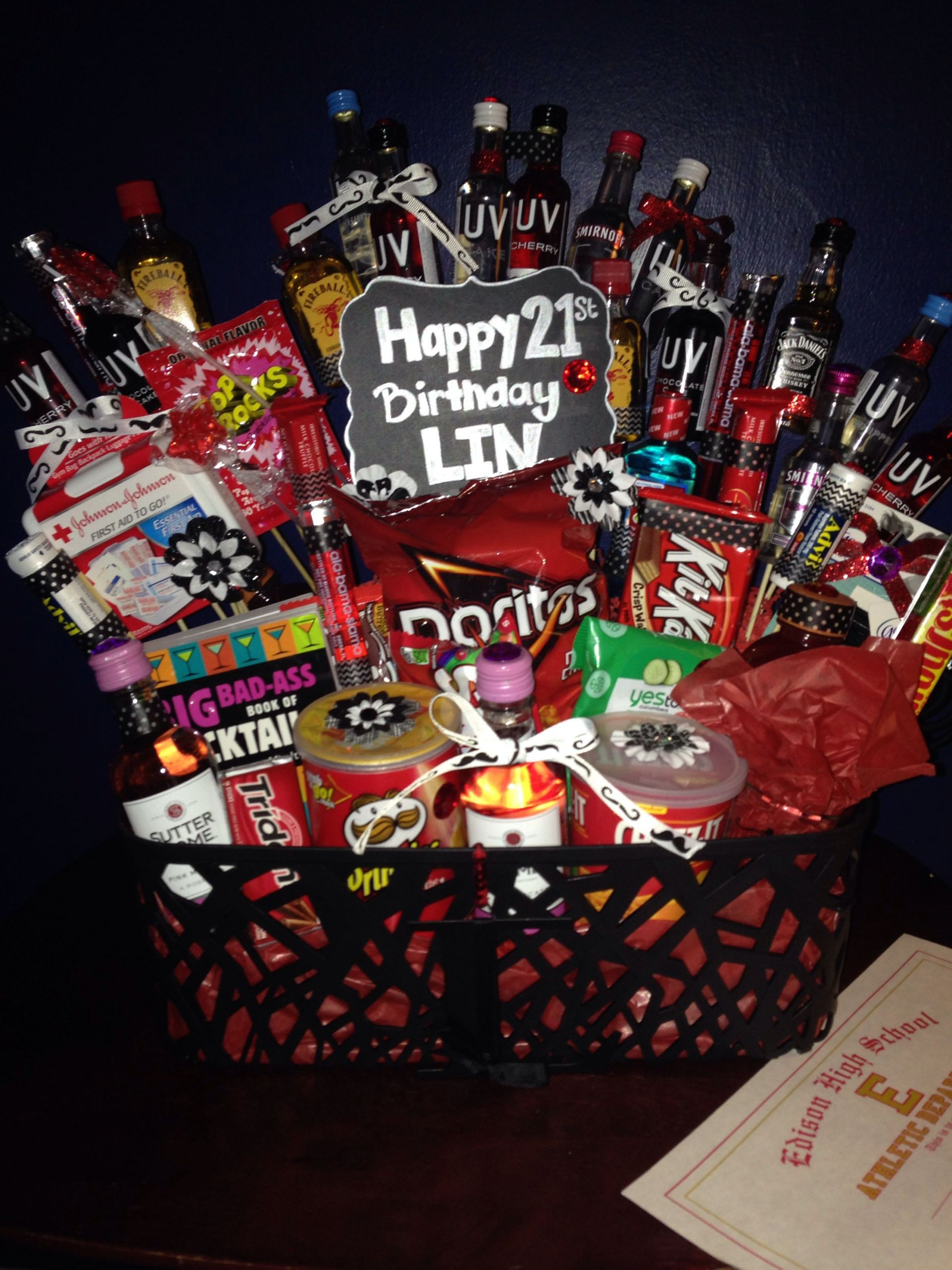 Gift Basket Ideas For Friends Birthday  21st birthday basket