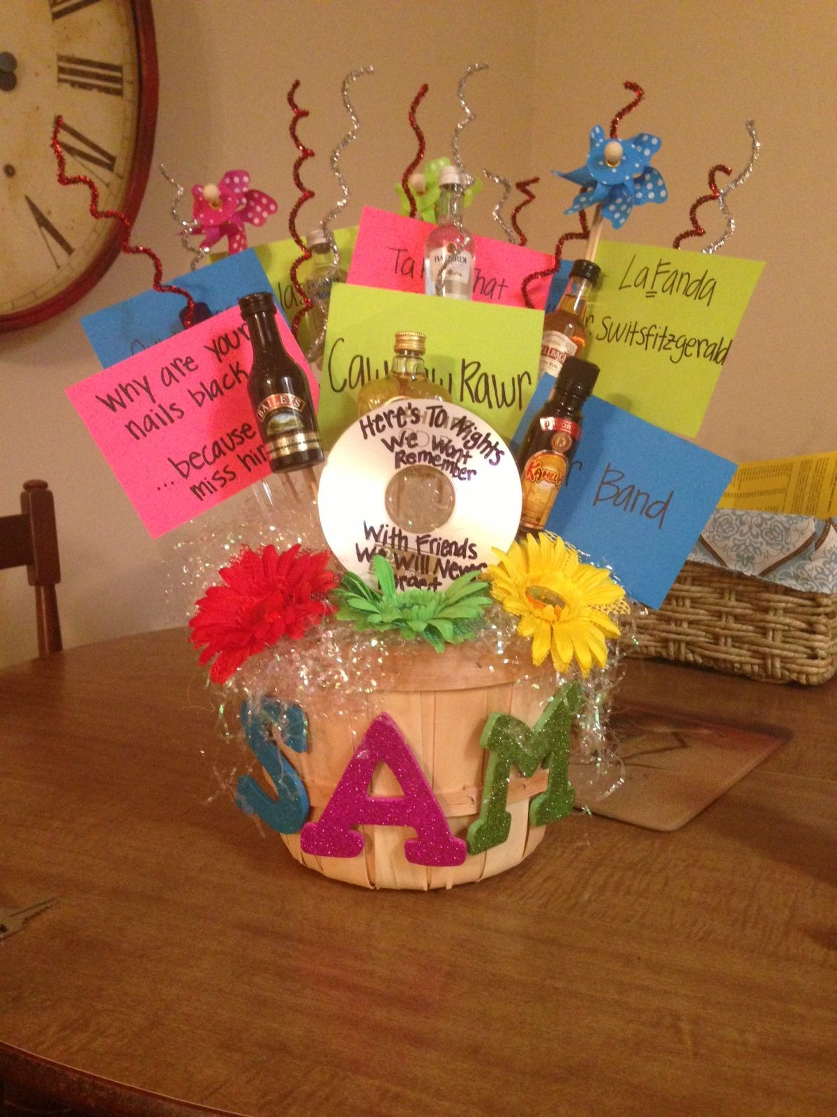 Gift Basket Ideas For Friends Birthday  Fun 21st birthday basket for my best friend Favorite