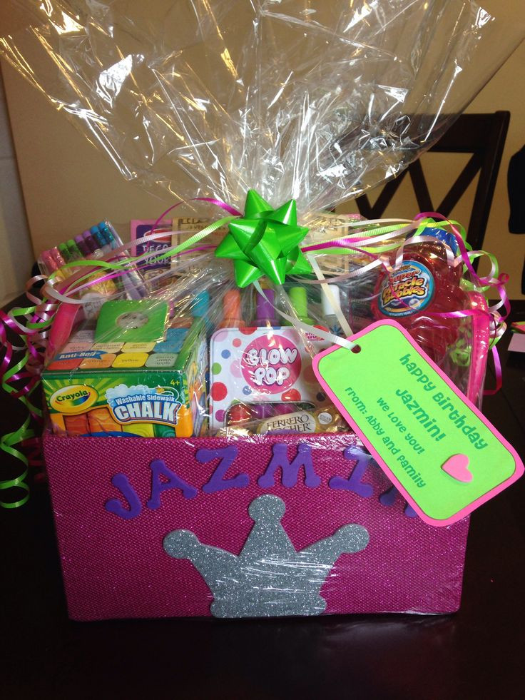 Gift Basket Ideas For Girls  Gift basket I made for 8 year old girl Gifts