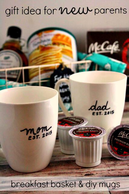 Gift Basket Ideas For Parents  Breakfast Gift Basket for New Parents & DIY Mugs