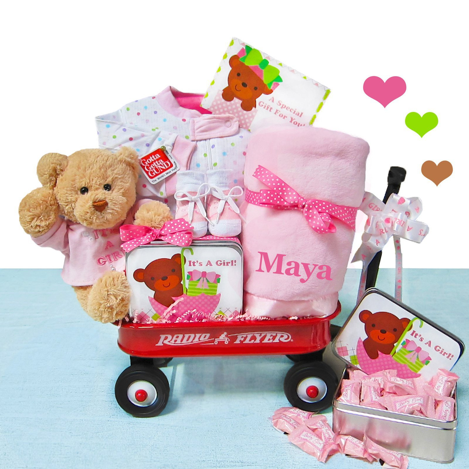 Gift Ideas For A Baby Girl  It s A Baby Girl Wagon Gift Set – StorkBabyGiftBaskets