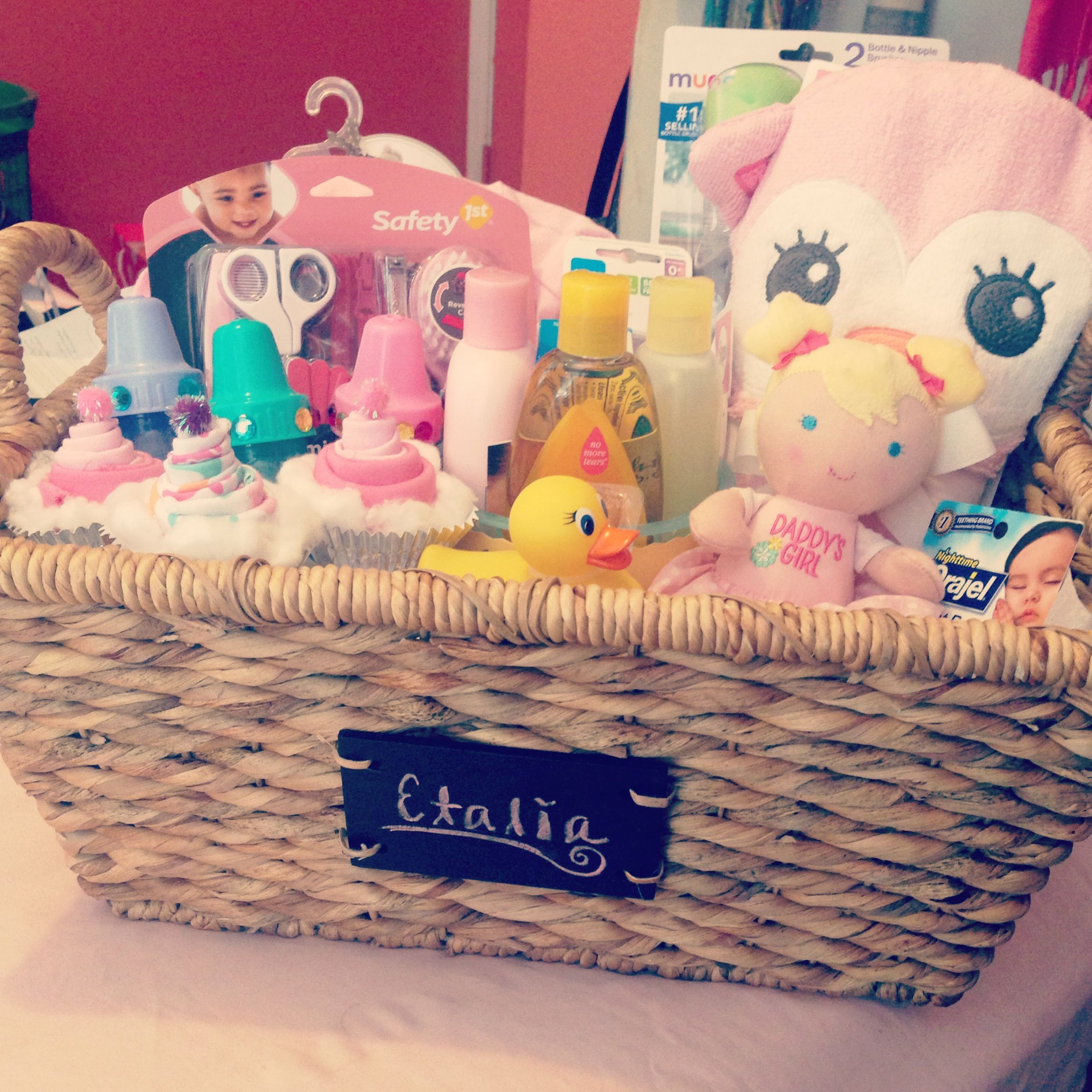 Gift Ideas For A Baby Girl  Baby shower basket t idea for girl