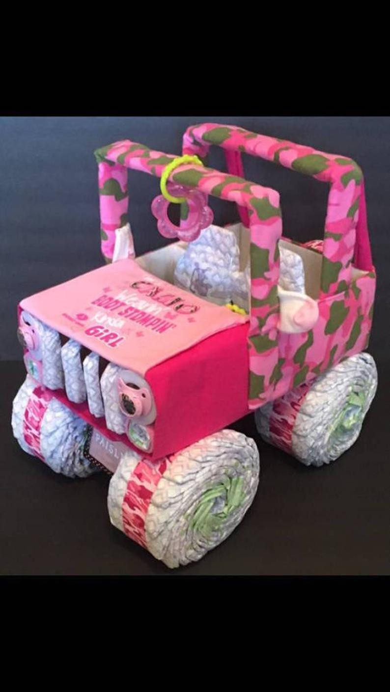 Gift Ideas For A Baby Girl  Pink camo diaper jeep for baby girl baby shower t ideas