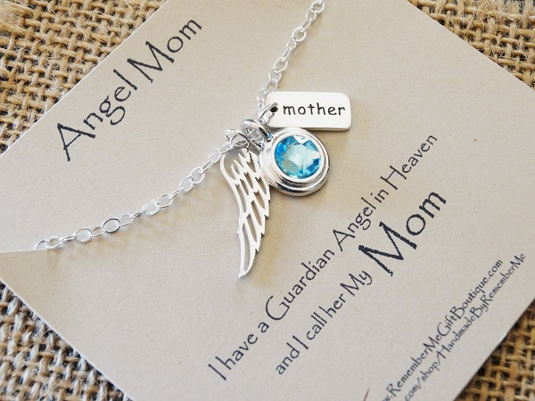 Gift Ideas For Death Of Mother  Memorial Necklace for Loss of Mom with Birthstone