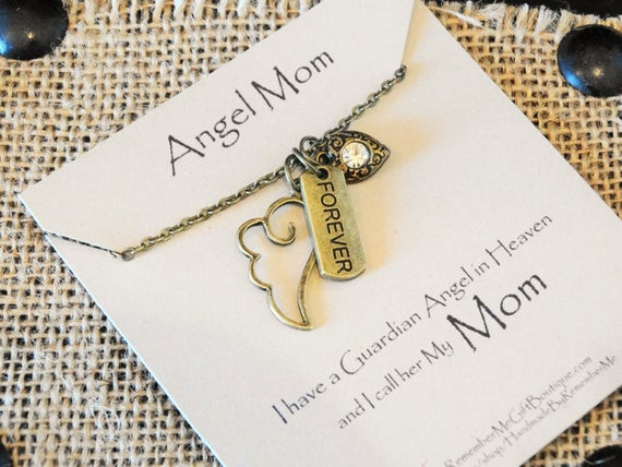 Gift Ideas For Death Of Mother  Angel Mom Memorial Necklace Memorial Gift by