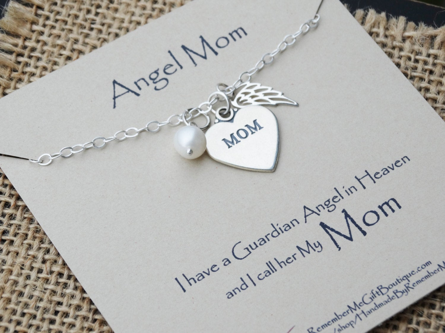 Gift Ideas For Death Of Mother  Loss of Mother Memorial Jewelry Angel Mom Sympathy Gift