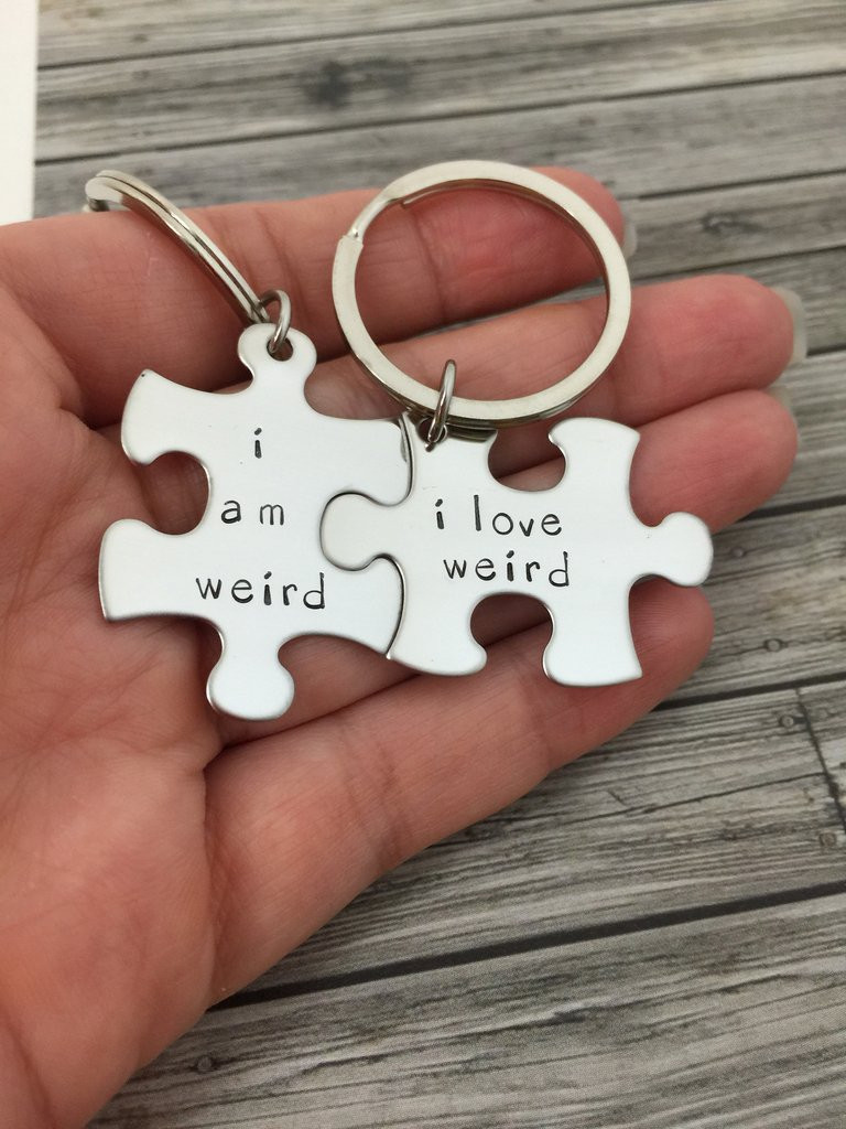 Gift Ideas For Eloped Couple  I am weird I love weird Couples Keychains Couples Gift