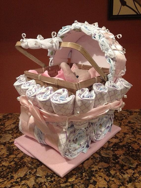 Gift Ideas For New Baby Girl  Diaper Carriage And Diaper Cake Unique Baby Shower Gifts
