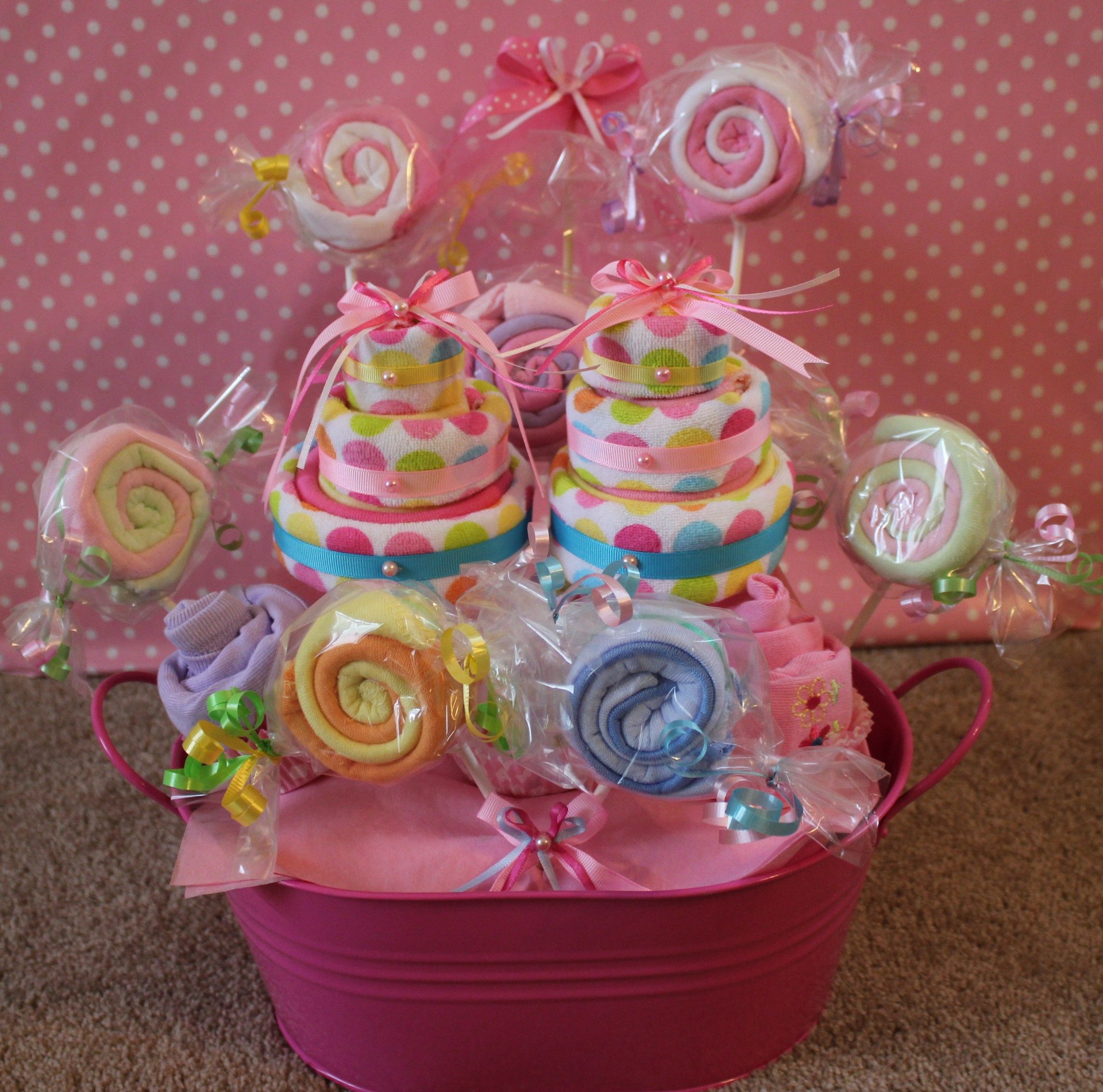 Gift Ideas For New Baby Girl  Wash cloth centerpiece