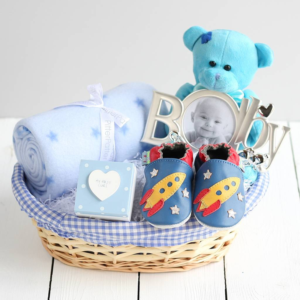 Gift Ideas For Newborn Baby Boy  deluxe boy new baby t basket by snuggle feet