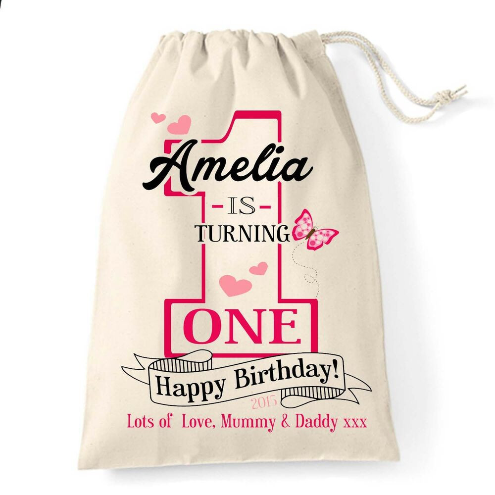Gifts For Baby Girls First Birthday  Personalised baby Girl 1st First Birthday cotton t bag