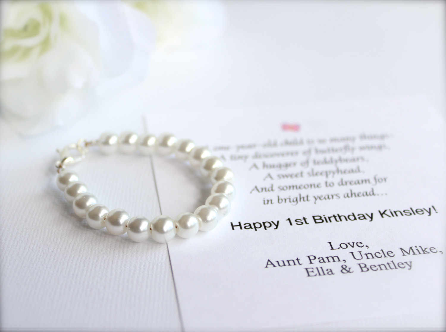 Gifts For Baby Girls First Birthday  BABY GIRL 1st Birthday Gift Pearl Bracelet with Birthday Card