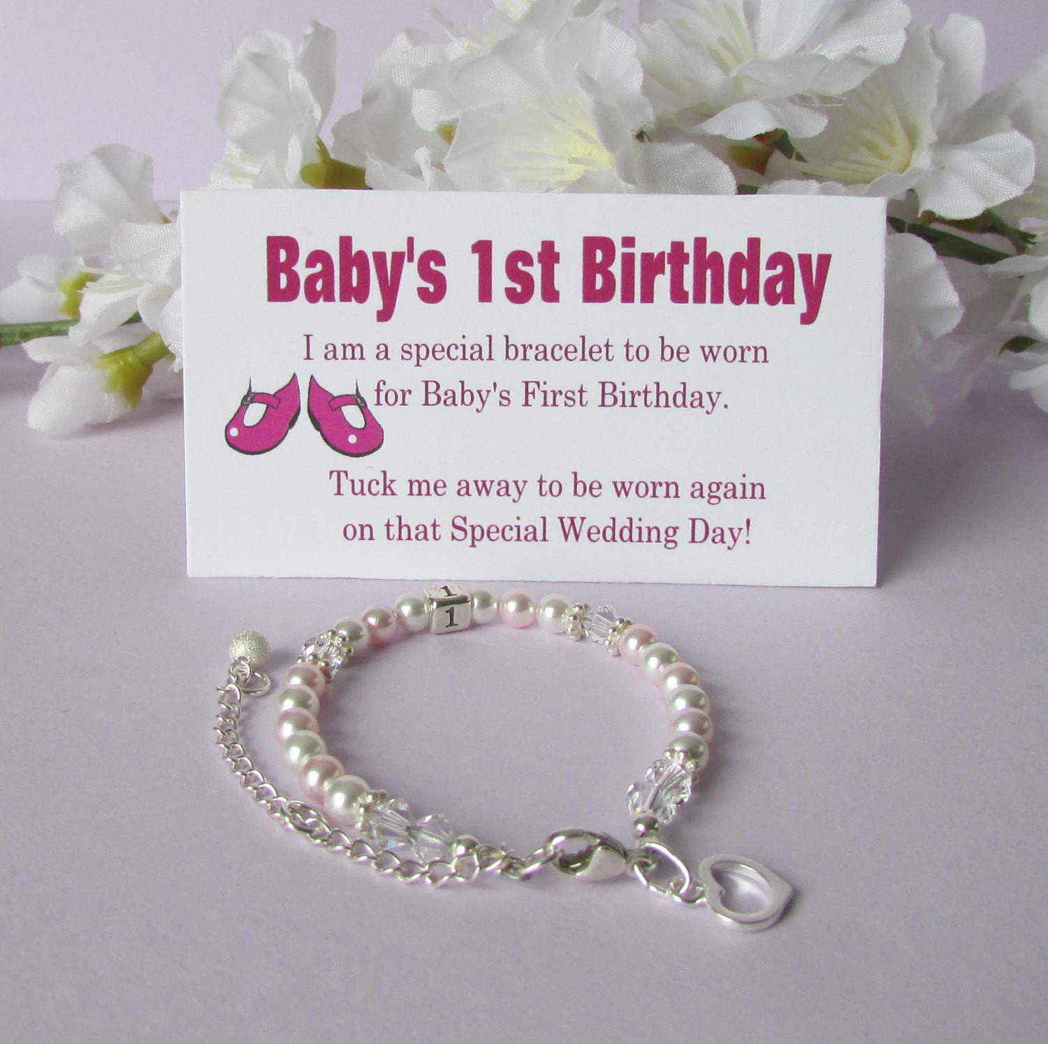 Gifts For Baby Girls First Birthday  Baby s 1st Birthday Gift Bracelet Baby to Bride Growing