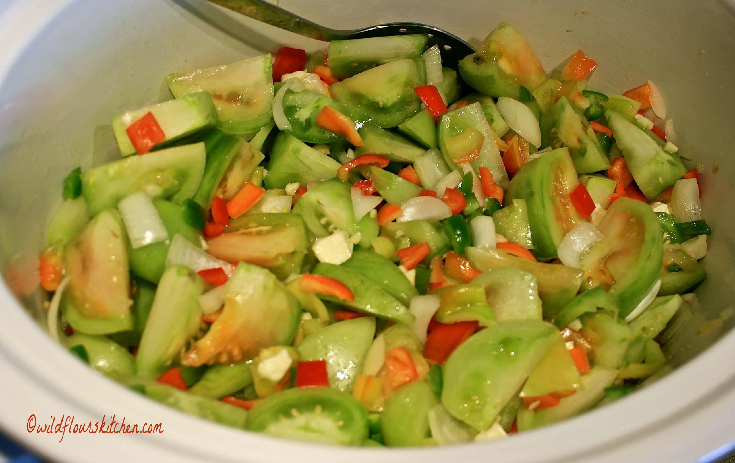 Green Tomato Salsa  Easy Slow Cooker Green Tomato Salsa Verde Wildflour s