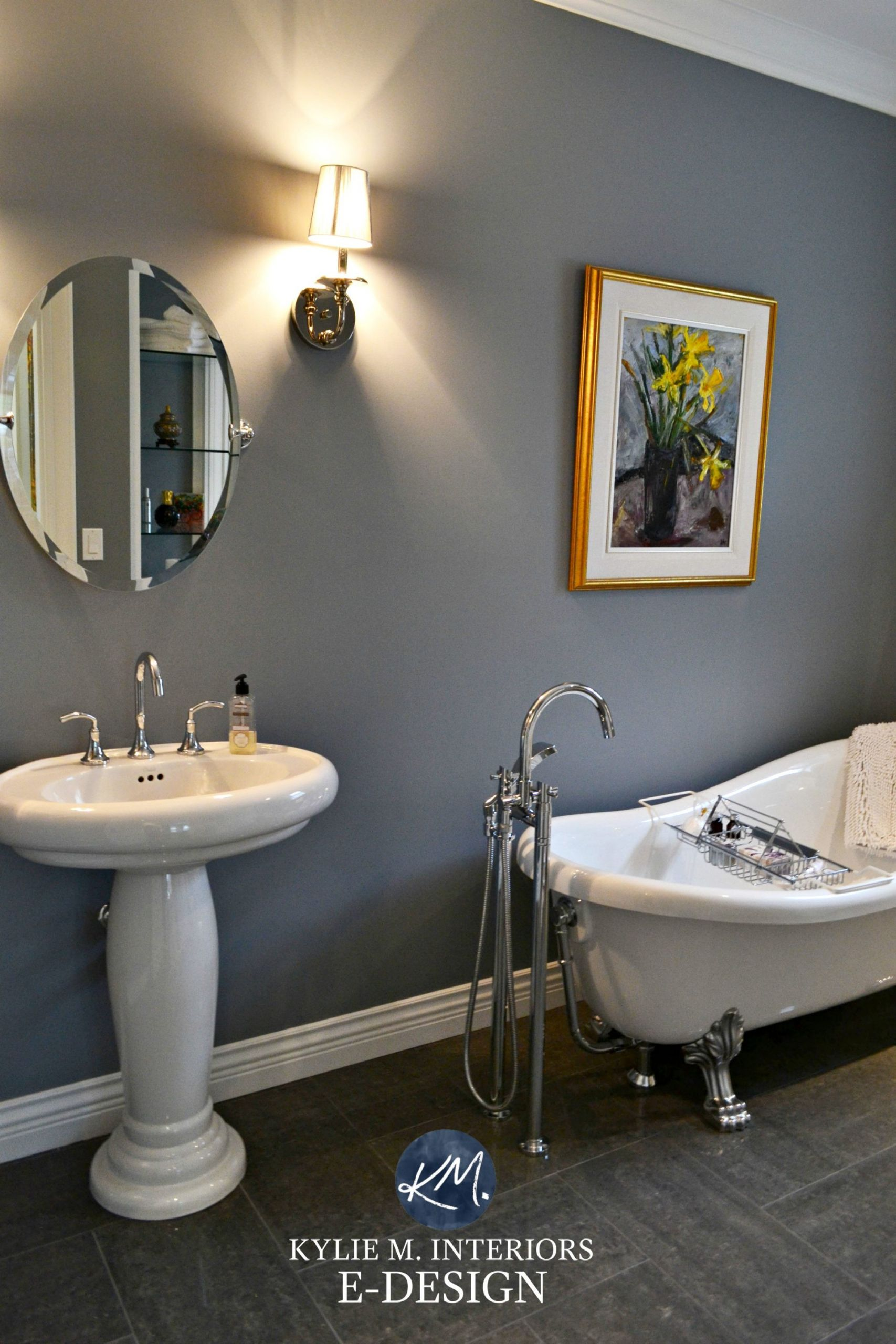 Grey Paint Colors For Bathroom  Dark room bathroom with the best paint colour Dior Gray