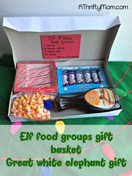 Group Gift Ideas For Christmas  Elf 4 basic food groups t basket great white elephant