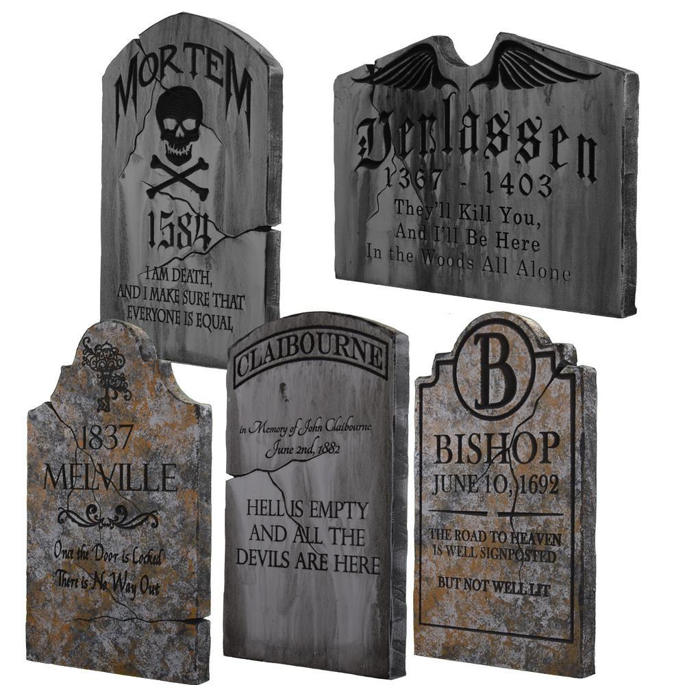 Halloween Grave Stone  24 in x 14 in Halloween Yard Tombstones 5 Pack TSFOG5