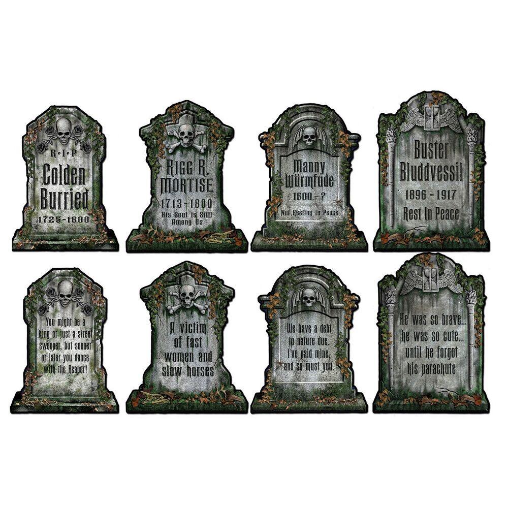 Halloween Grave Stone  4 Halloween Cemetery GRAVEYARD TOMBSTONE Diecut CUTOUTS