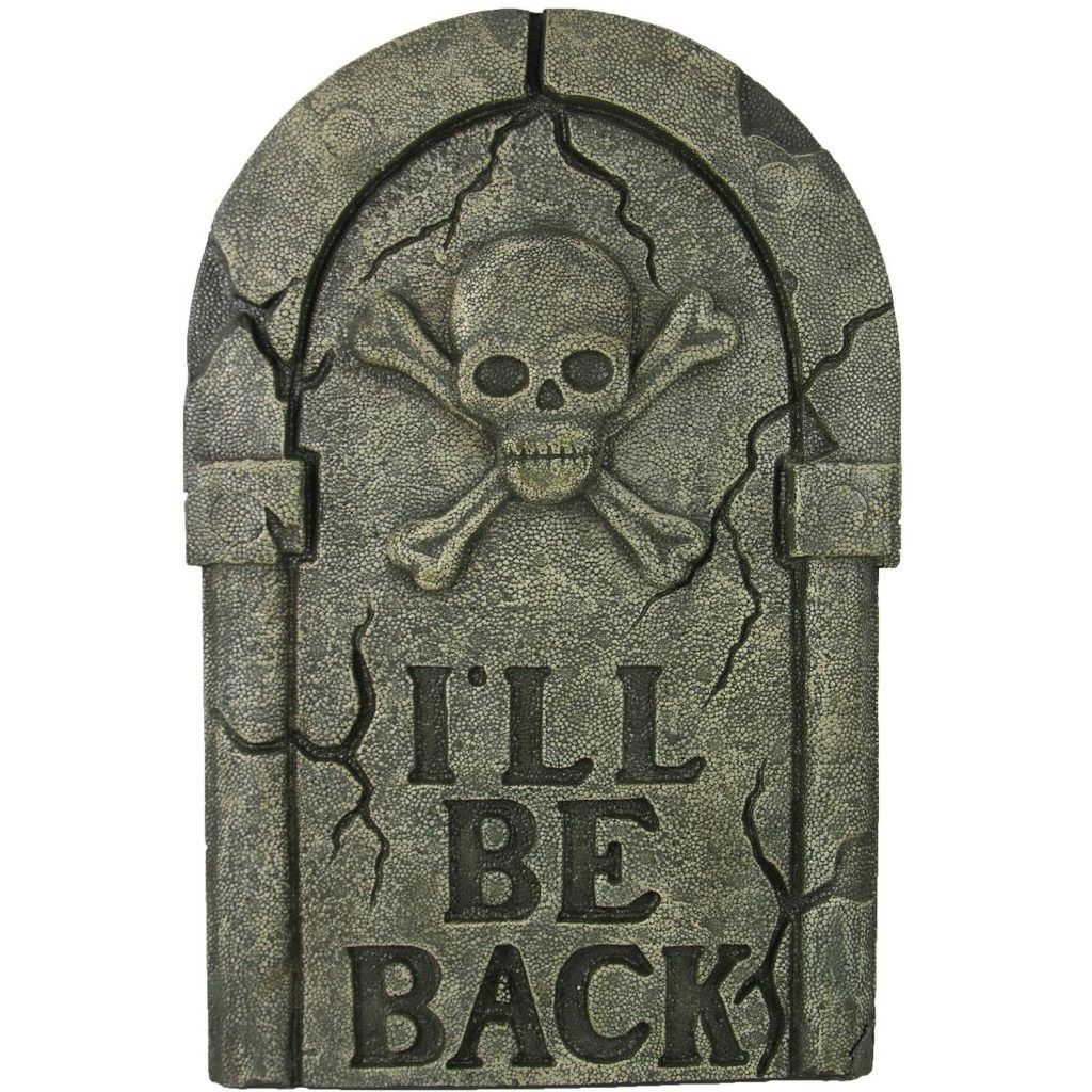 """Halloween Grave Stone  27"""" I ll Be Back Tombstone Halloween Decoration"""