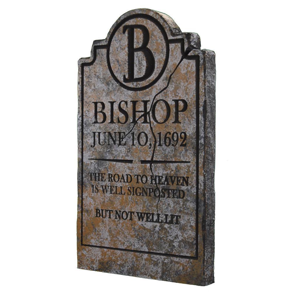 Halloween Grave Stone  24 in Bishop Halloween Yard Tombstone BISH01GY The Home