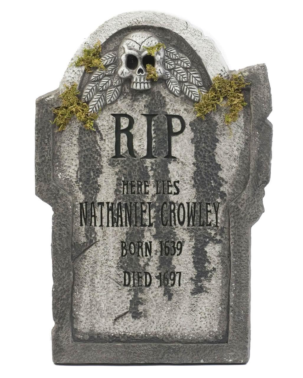 Halloween Grave Stone  Halloween gravestone with skull & moss 55 cm
