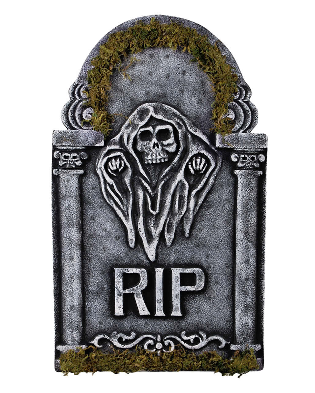 Halloween Grave Stone  Memorial stone Grim Reaper with moss