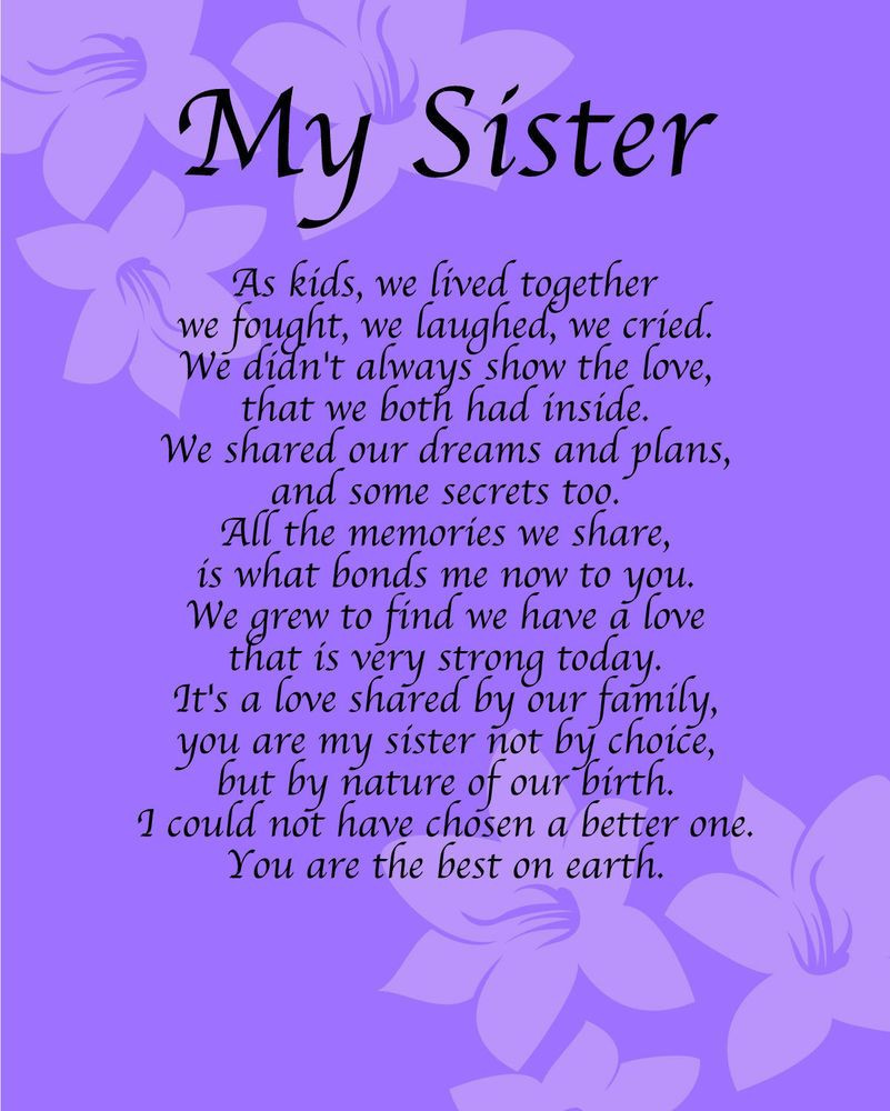 Happy Birthday Sister Poems Funny  Details about Personalised My Sister Poem Birthday