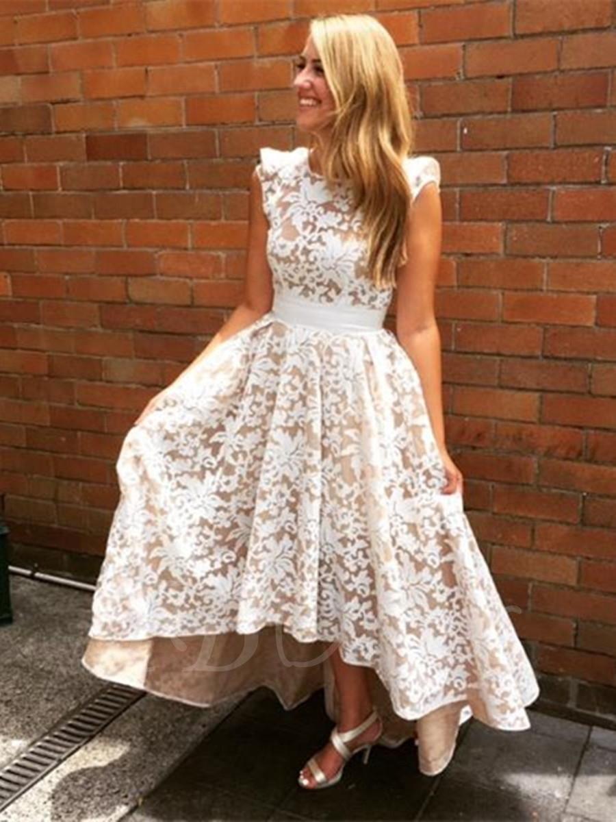 Hi-lo Wedding Dresses  New Arrival White Short Bridesmaid Dresses Tea Length 2017