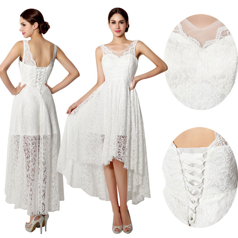 Hi-lo Wedding Dresses  New White Ivory Hi Lo Bridal Gown Lace Vintage Beach