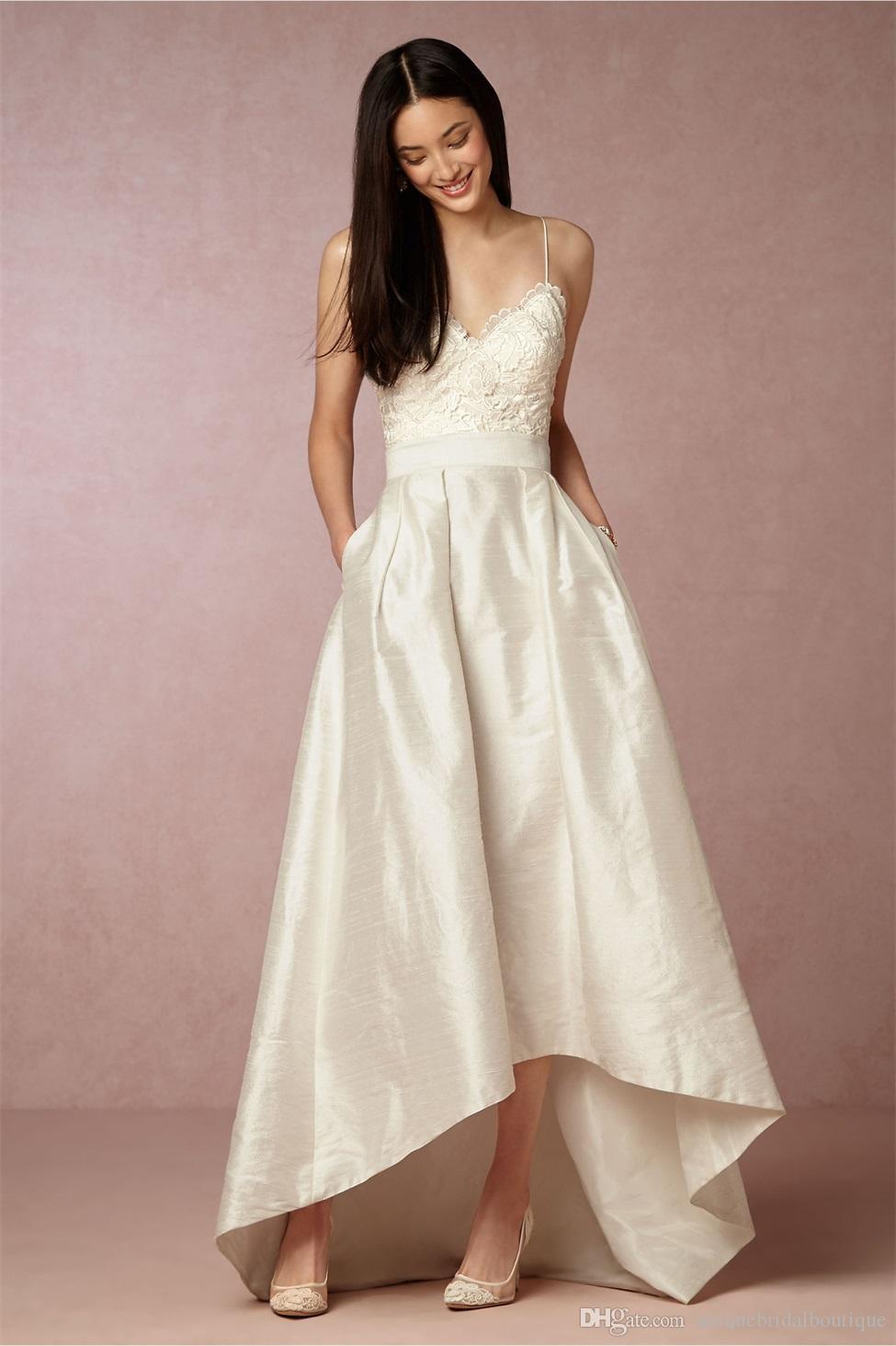 Hi-lo Wedding Dresses  Discount Hi Lo Wedding Dresses 2017 BHLDN With Spaghetti