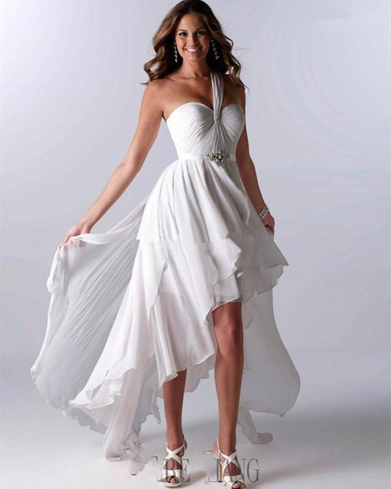 Hi-lo Wedding Dresses  Simple White Chiffon Wedding Dresses 2015 Floor Length e