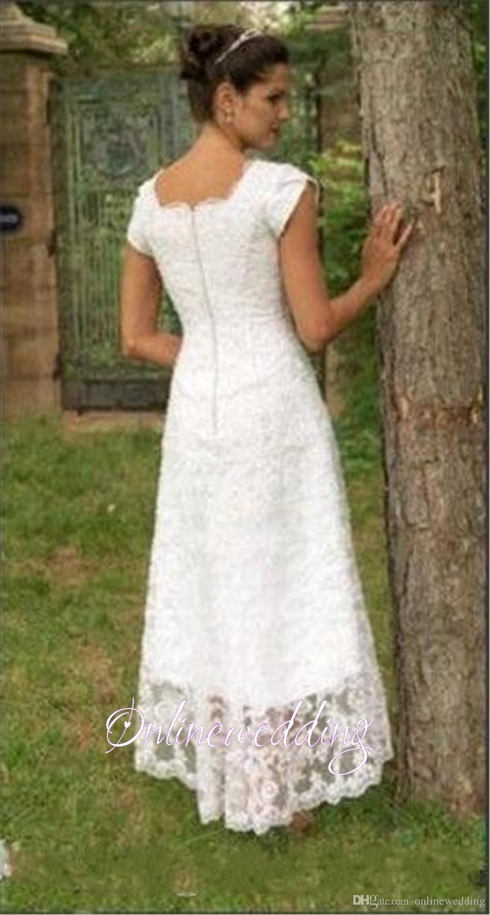 Hi-lo Wedding Dresses  Vintage Short Hi Lo Wedding Dresses Tea Length 2016 Full