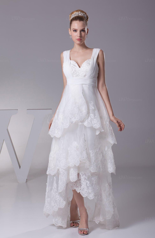 Hi-lo Wedding Dresses  White Informal Garden A line Thick Straps Hi Lo Beaded