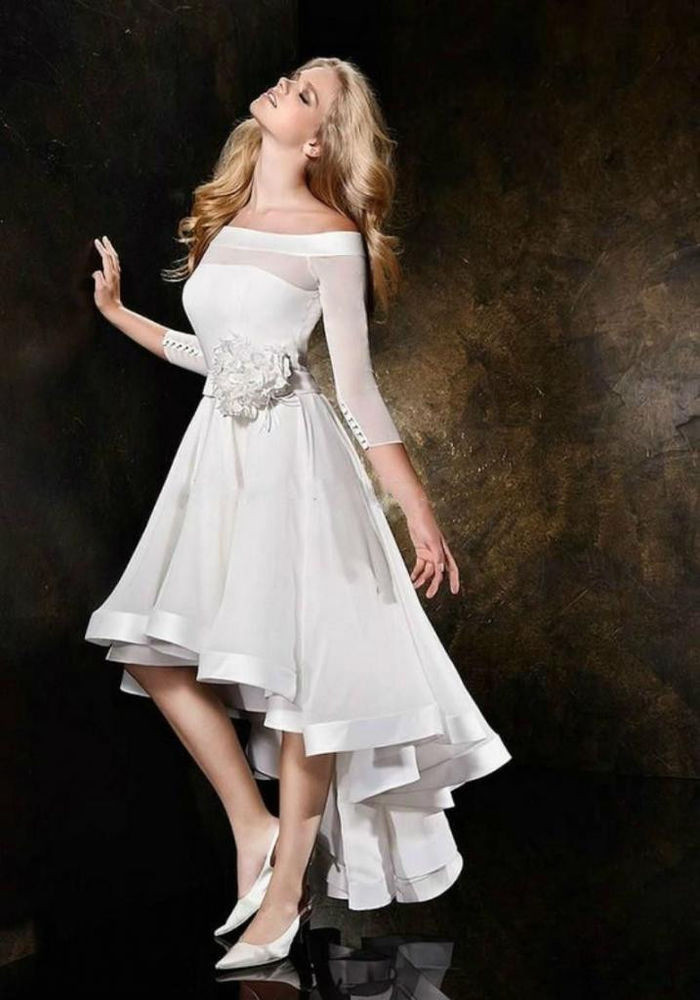 Hi-lo Wedding Dresses  2016 New White Ivory Hi Lo Half sleeve Wedding dress