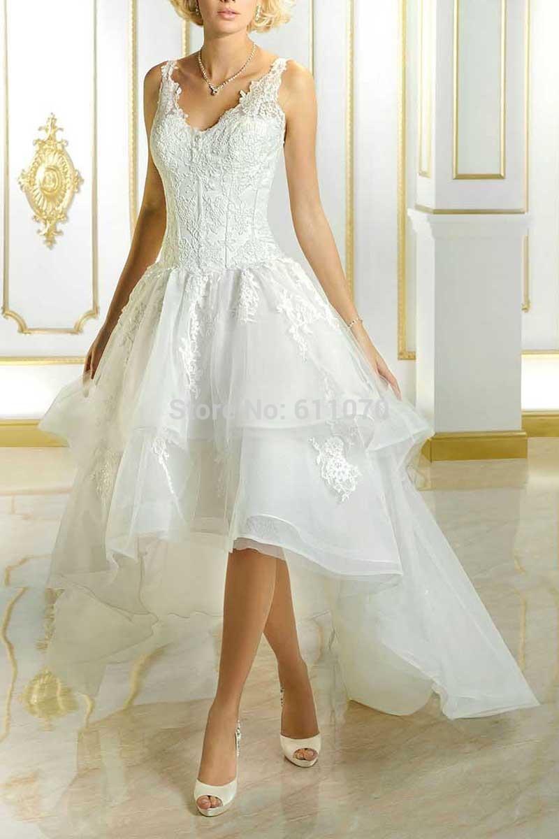 Hi-lo Wedding Dresses  2016 Hi Lo Elegant White Lace Appliques V Neck Wedding
