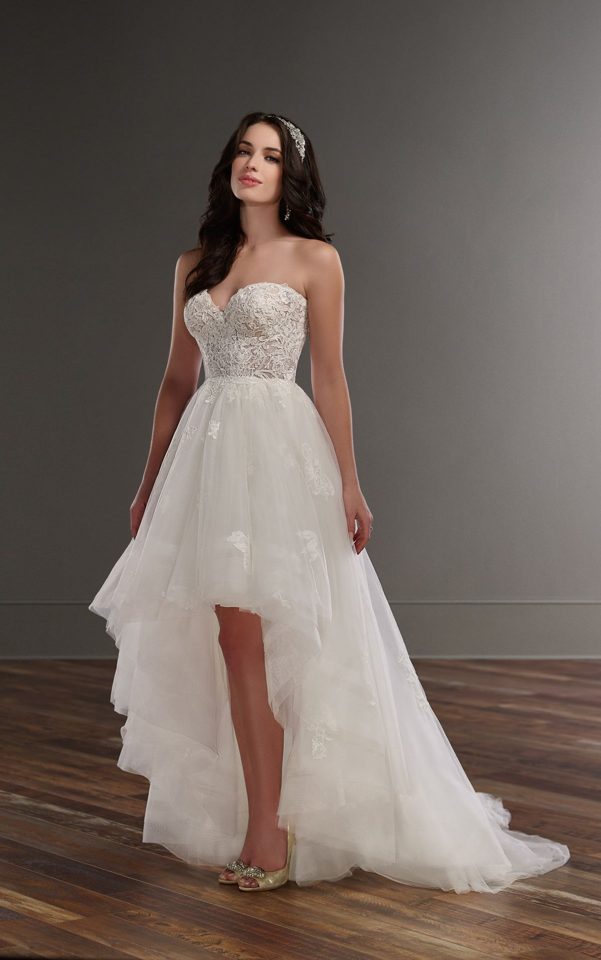 Hi-lo Wedding Dresses  Strapless high low wedding dress Martina Liana