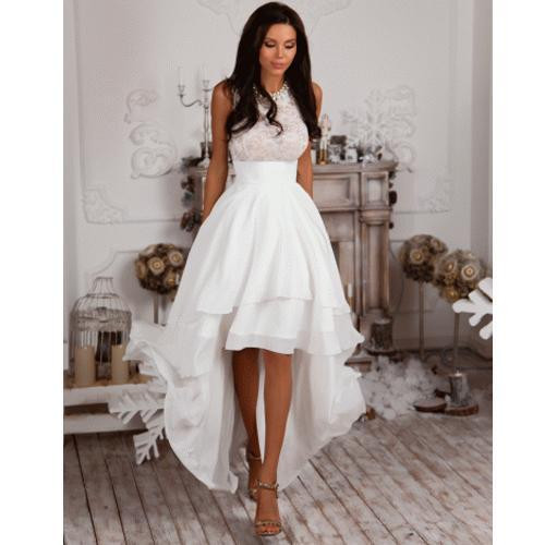 Hi-lo Wedding Dresses  Hi Lo Satin Wedding Dress Summer Short Bridal Gown Custom
