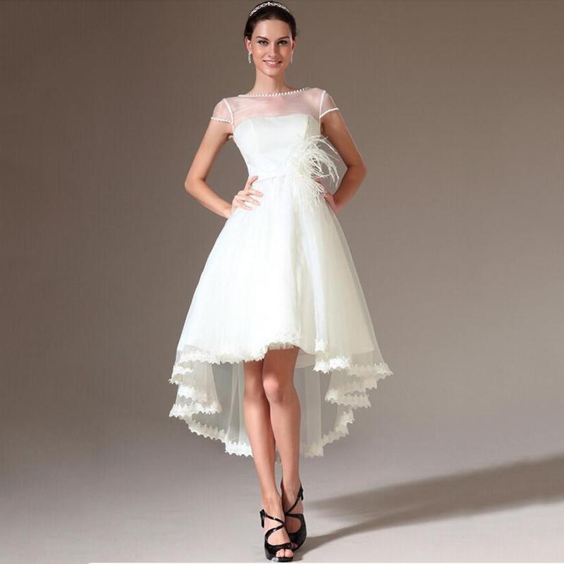 Hi-lo Wedding Dresses  2015 New Hi Lo Organza Wedding Dresses Scoop Sheer Neck
