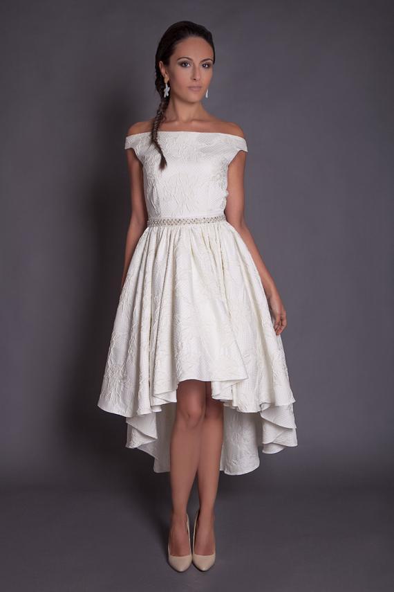 Hi-lo Wedding Dresses  50s high low wedding dress in jacquard ivory hi lo wedding