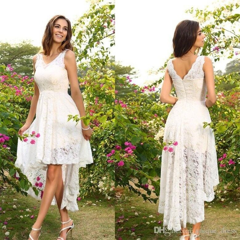 Hi-lo Wedding Dresses  New Vintage Hi Lo Beach Bridal Gown White Ivory A Line