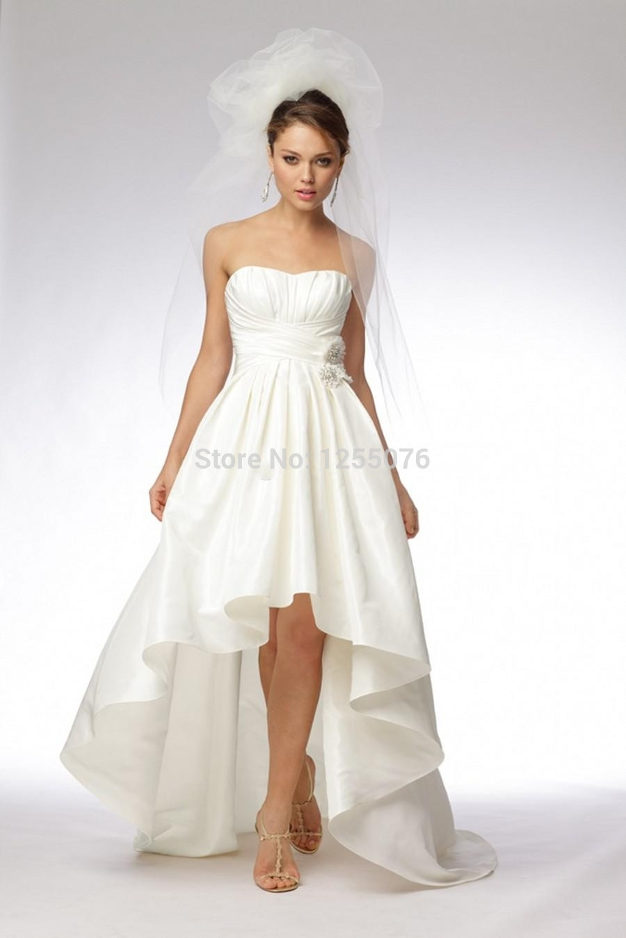 Hi-lo Wedding Dresses  New 2014 Simple Wedding Dresses Strapless y Hi Lo Sheer