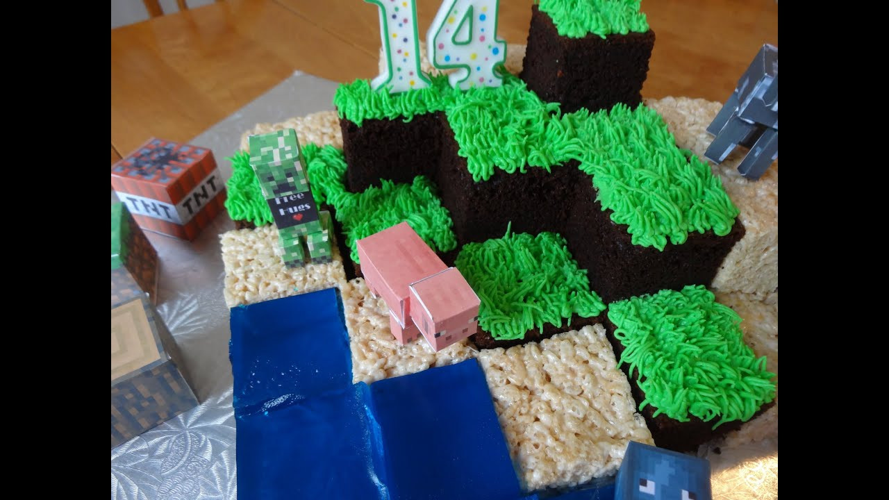 How To Make A Minecraft Birthday Cake  How to make a Minecraft cake with yoyomax12