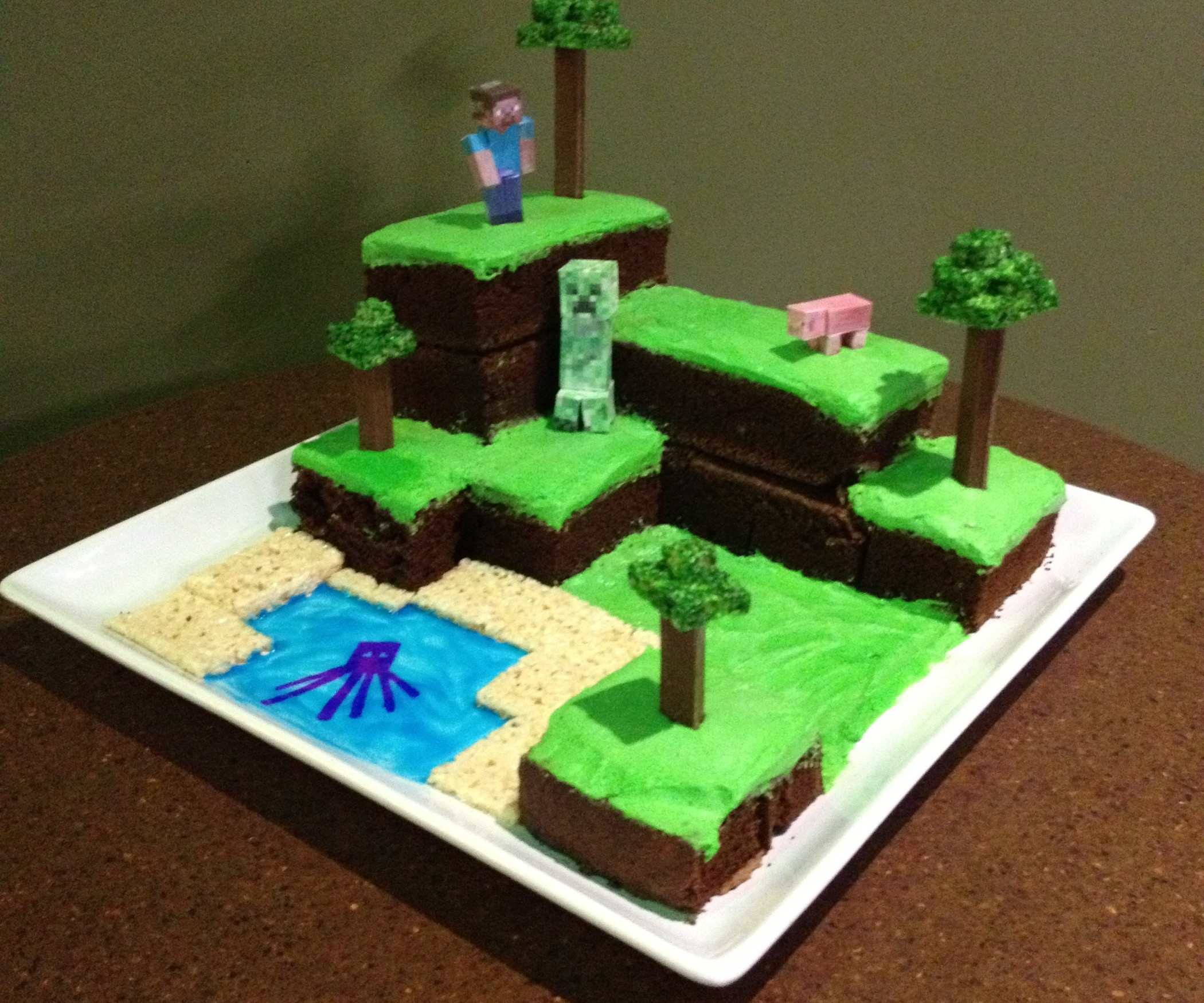 How To Make A Minecraft Birthday Cake  Minecraft World Cake with