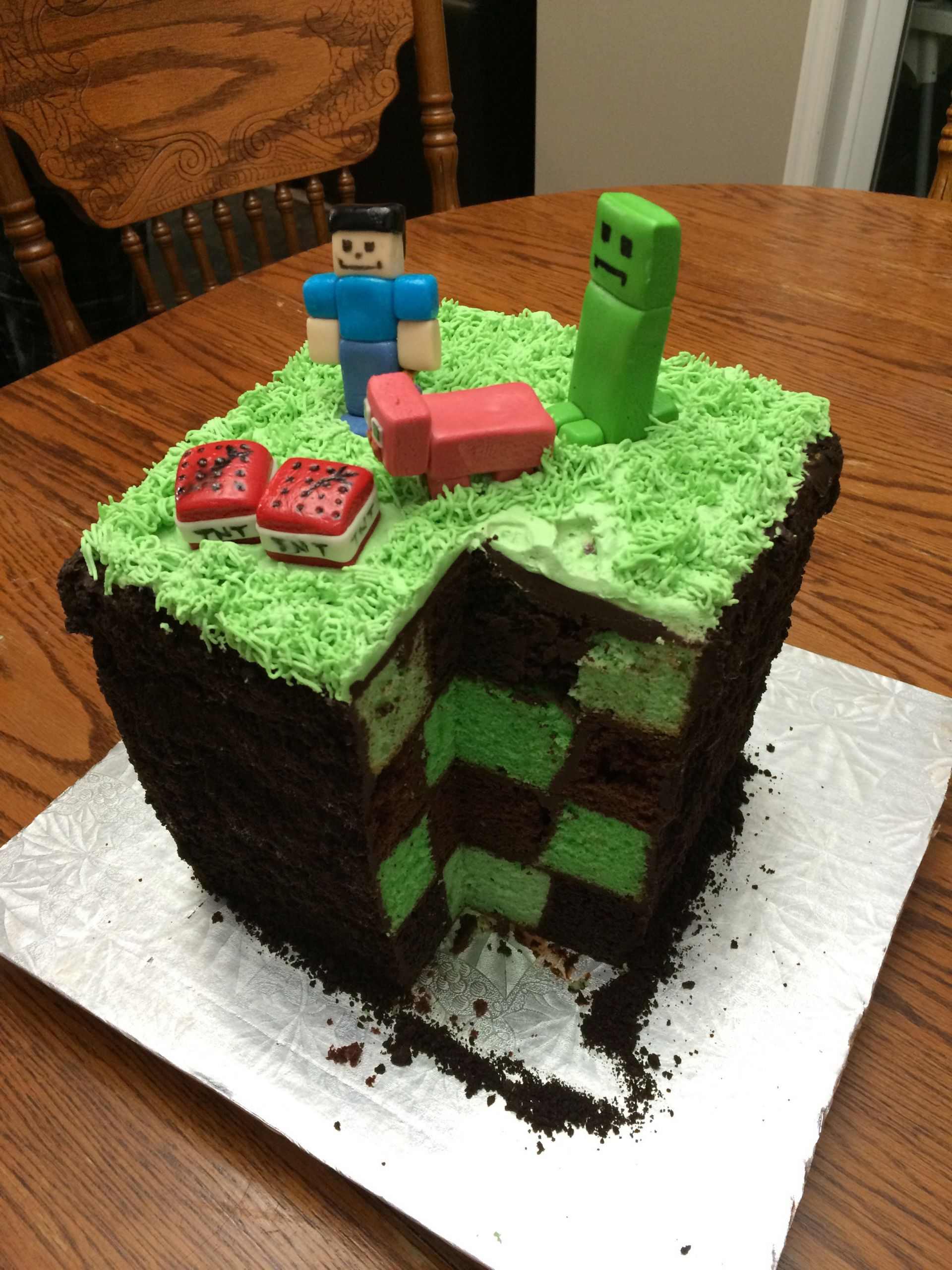 How To Make A Minecraft Birthday Cake  My mom made a pretty cool Minecraft cake for my brother s