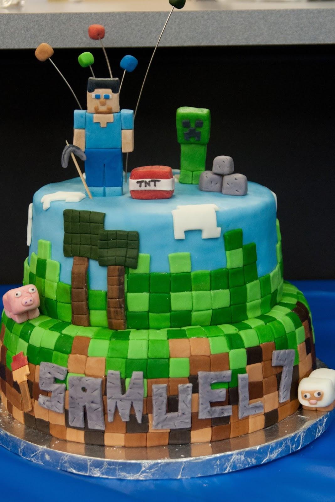 How To Make A Minecraft Birthday Cake  Pink Bluebonnet Minecraft Cake