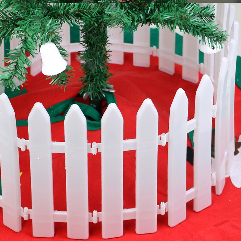 Indoor Christmas Tree Fence  10pcs Christmas White Plastic Fence DIY Splicing Garden