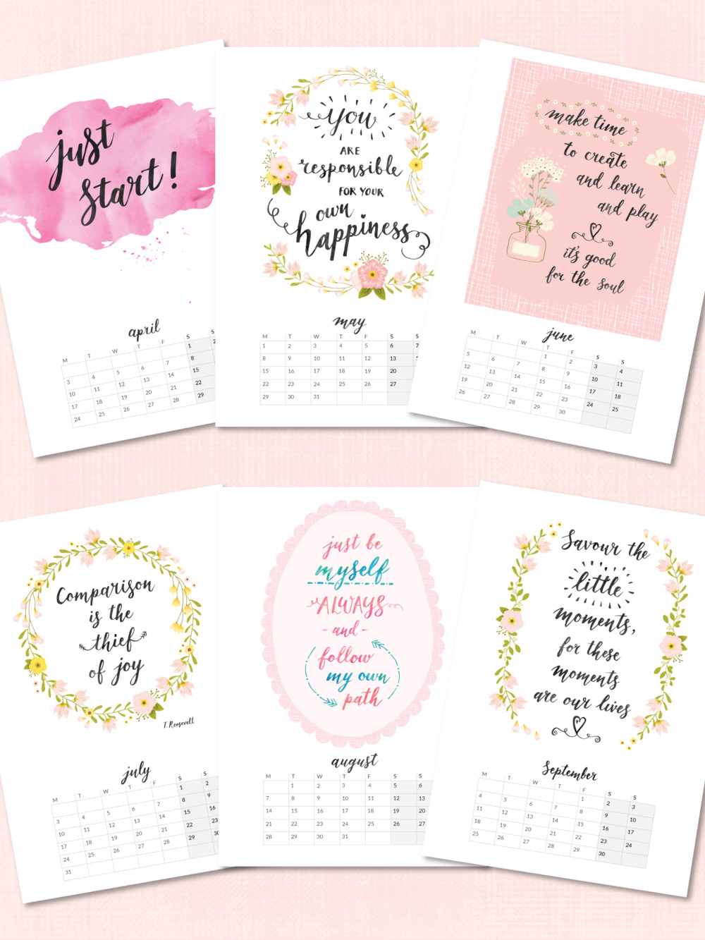 Inspirational Quote Calendar  Printable 2017 Calendars now in my Etsy shop — Beautiful